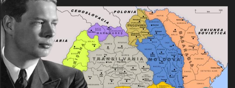 Король Михай I на фоне карты Королевства Румыния.