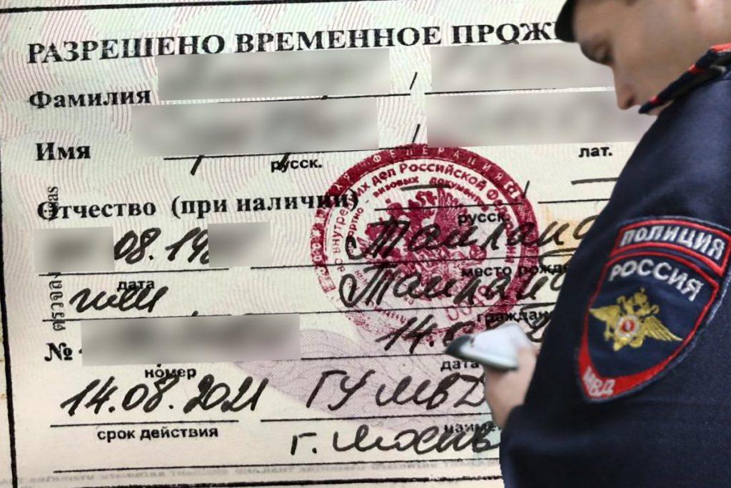 РВП. Сотрудники полиции досматривает документы